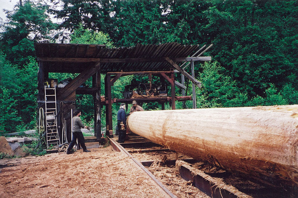 Fabrication of a log for Katsura Gate